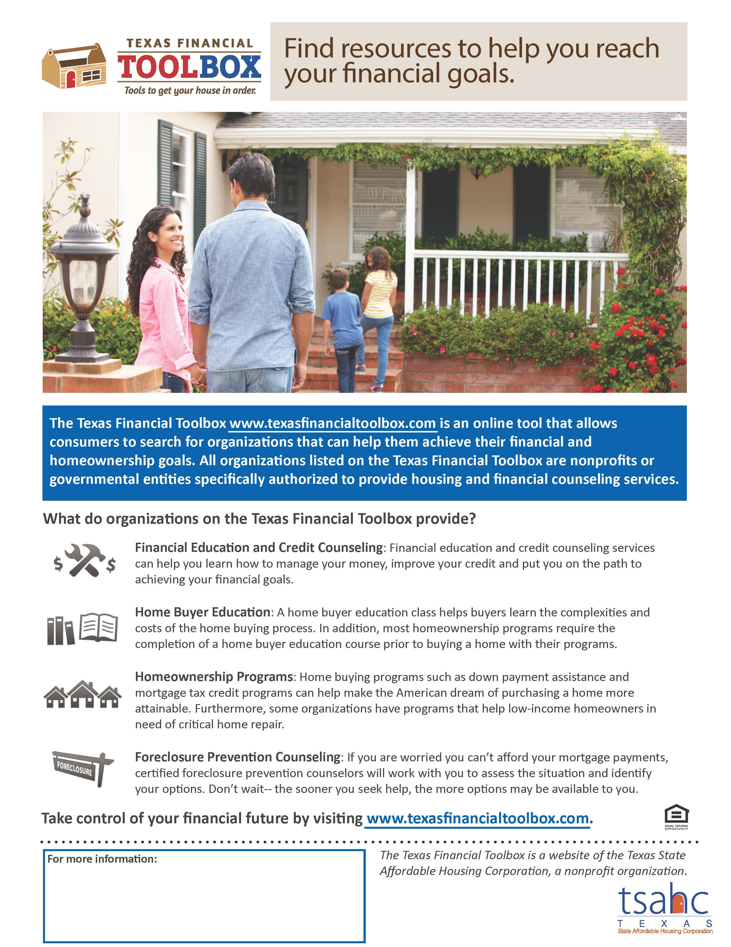 Texas state affordable housing corporation tsahc texas financial toolbox fillable brochure new xflitez Image collections